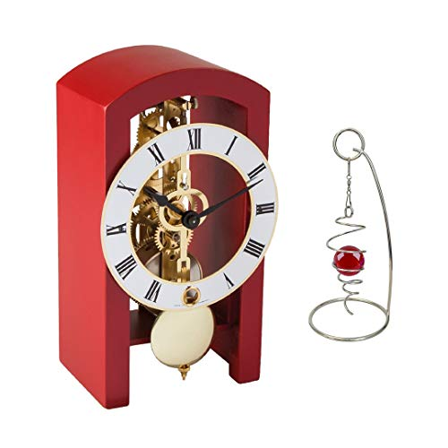 Qwirly 2-Item Bundle: Patterson Skeleton Mechanical Wooden Table Clock by Hermle 23015360721 and Desktop Glass Ball Spinner – Room Accessories Gift Set for Boss, Partner or Friend – Red