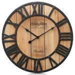 Westzytturm Large Rustic Wood Wall Clocks Battery Operated Non Ticking Quartz Movement Silent Exact Time Easy to Read Classic Art Antique Home Decor for Living Room Office Mantel (Clear, 18 inches)