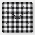 Cool White Black Lumberjack Tartan Squares Pattern Square Wall Clock