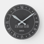 Couples First Home Faux Rustic Chalkboard Clock