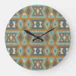 Taupe Beige Orange Brown Teal Blue Turquoise Art Large Clock