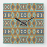 Taupe Beige Orange Brown Teal Blue Turquoise Art Square Wall Clock