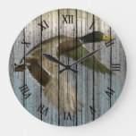 Wild Duck In Flight On Weathered Wood Pattern Large Clock