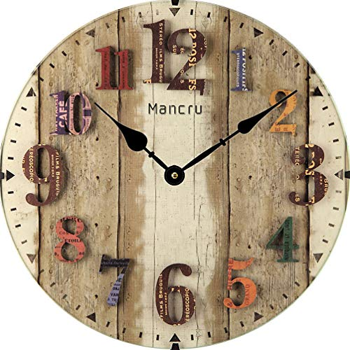 Mancru 0.4 Inch Thickness Vintage Not Cover Silence Wall Clock Shabby Wooden Large Round Non-Ticking Quiet Quartz Wall Clock Decoration Wall Art Clock 10-12inch
