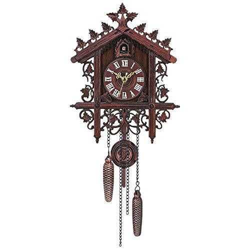 Wall Clocks – Vintage Wood Cuckoo Wall Clock Hanging Handcraft Decoration Art Swing Living Room – Rustic Huge Tick Kitchen Farmhouse Oversize Size Pendelum Pictures Giant Noise Pendulum Medium