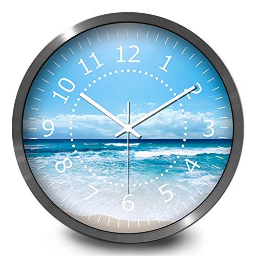Qioop Wall Clock Blue Sky Living Room Silent Quartz Wall Clock 12 inches
