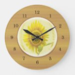 Bright Yellow Sunflower Large Clock