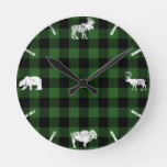 Cabin Buffalo Plaid Lumberjack Check Pattern Green Round Clock