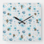Cute floral pattern , flowers , floral pattern square wall clock