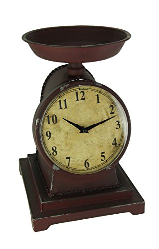 Audrey's Rustic Red Decorative Vintage Weight Scale Table Clock
