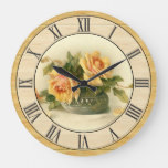 Pretty Vintage Yellow Roses Wood Look Border Large Clock