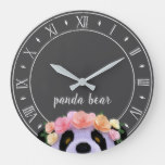 Rustic Boho Panda Bear Nursery Wall Clock