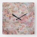Rustic elegant pink collage floral typography square wall clock