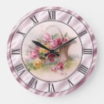 Vintage Pink Roses Basket Mauve Satin Look Border Large Clock