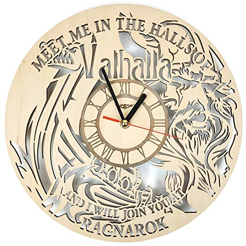 ShareArt Vikings Silent Wood Wall Clock – Original Home Office Living Room Bedroom Kitchen Decor – Best Birthday Gift for Friends Men Woman – Unique Wall Art Design – Size 12 Inch