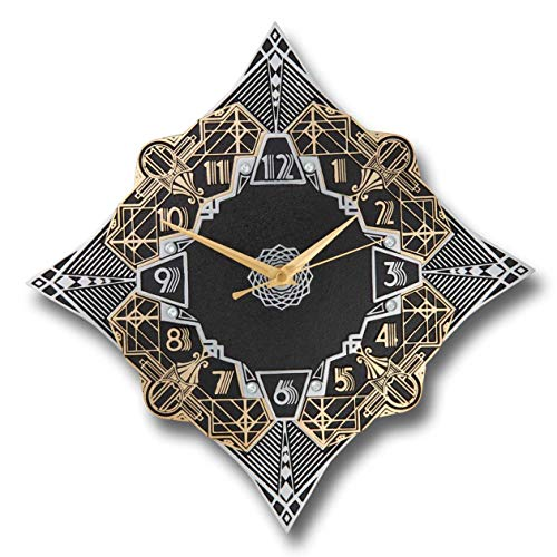 The Metal Foundry 'Paramount' Art Deco Style Décor Metal Wall Clock. Cast English Brass and Aluminum Hand Polished in England. Retro Vintage Designer Hanging Silent Silver and Gold (Paramount Design)
