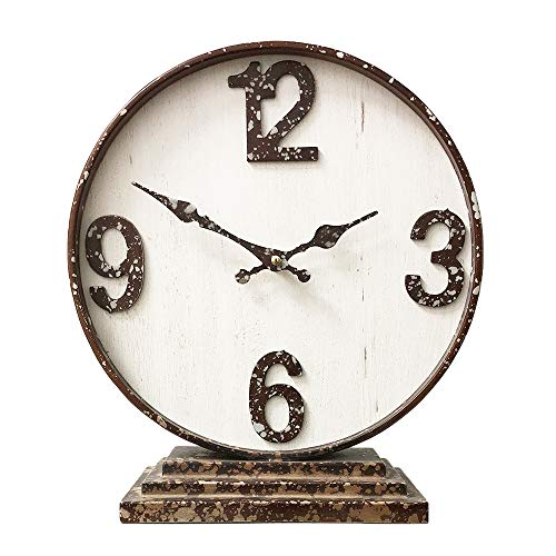 MODE HOME Rustic Wood and Metal Table Clock Vintage Mantel Clock Decorative