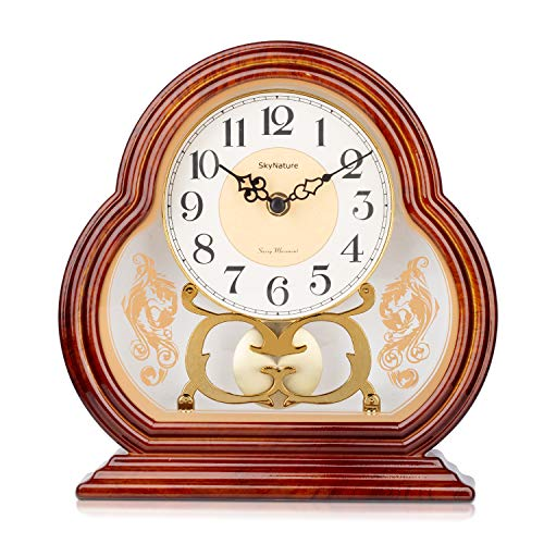 SkyNature Pendulum Table Clocks, Vintage Grandmother Desk Clock in Imitation Wood Style, Silent Non-Ticking Battery Operated Hanging Clock for Home, Bedroom, Office, Den Decor – 10 Inch Brown