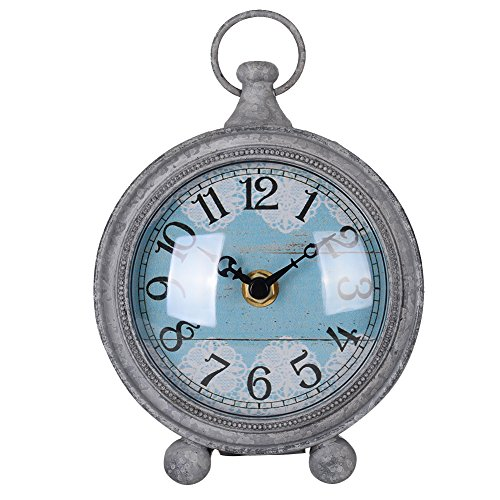 "NIKKY HOME Vintage Pewter Quartz Round Table Clock with Handle 4.75"" by 2.12"" by 6.12"", Grey"