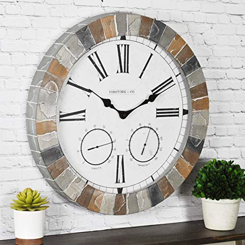 FirsTime 99670 Garden Stone Outdoor Wall Clock, Faux Slate
