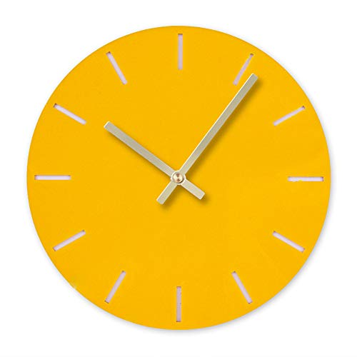 BB67 Clock Modern Fashion Acrylic Removable DIY Acrylic Wall Clocks Decorative Clock Round Home/Office/School Clock (F, Orange)
