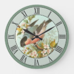 Gorgeous Vintage Bird Scene on Green Background Large Clock