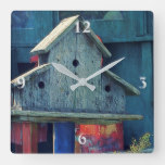 Rustic Wooden Birdhouse Blue Square Wall Clock