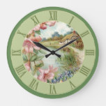 Vintage Country Cottage Scene Green Floral Large Clock