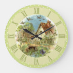 Vintage Country Cottage Scene Green Polka Dots Large Clock