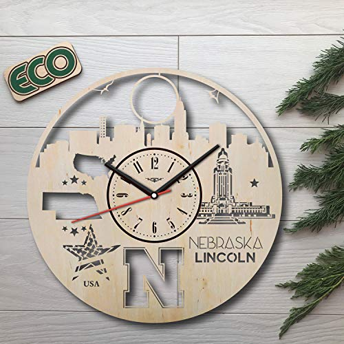 KovalStudio Lincoln Nebraska Wall Clock – Battery Operated Non Ticking Clocks – Wood Modern Wall Decor – Kitchen Office Decorative Clocks – Custom Gift Birthday Christmas Anniversary – Size 12 Inch