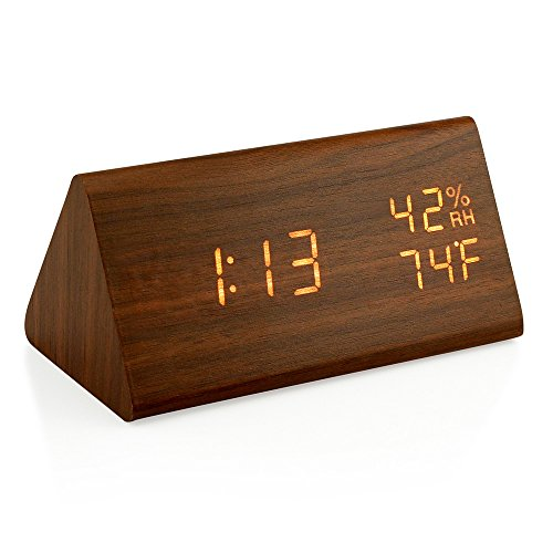 Oct17 Wooden Alarm Clock, Wood LED Digital Desk Clock, Upgraded with Time Temperature, Adjustable Brightness, 3 Set of Alarm and Voice Control, Humidity Displaying – Brown