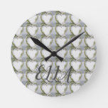 Elegant flower heart rustic birch bark gingham round clock