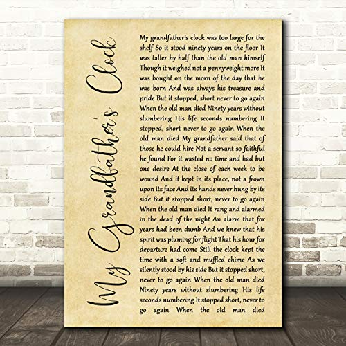 My Grandfather's Clock Rustic Script Song Lyric Print