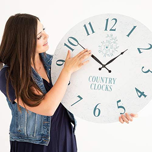 Decorative Wall Clock 24 inches – Rustic Wall Clock – Farmhouse Wall Clock Non Ticking – Oversized Wall Clock Decorative