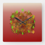 Autumn Fall Leaves Square Wall Clock