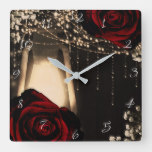 Rustic Lantern Light & Dark Red Roses Floral Glam Square Wall Clock