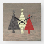 Rustic Wood and Colorful Pop Art Christmas Tree Square Wall Clock