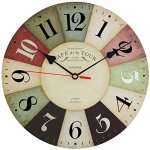 Adalene Wall Clocks Battery Operated Non Ticking 12 inch – Vintage Wood Colorful Kitchen Wall Clock Silent – Analog Quartz Wooden Wall Clocks Large Decorative for Kids Bedrooms, Living Room, Bathroom