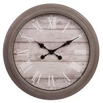 Patton Wall Decor 22 Inch Rustic Wall Clock in Distressed Taupe