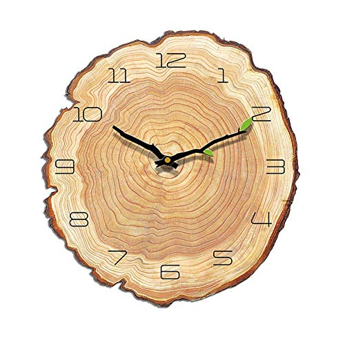 VANCORE Retro Wooden Wall Clock Annual Ring Decorative Silent Non Ticking Quartz Wall Clock Battery Operated for Kitchen Bedroom Living Room,28 x 30cm/ 11″ 11.8″