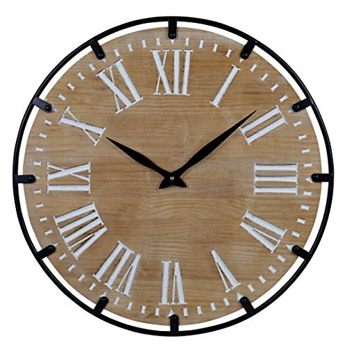 23-Inch Oversized Rustic Metal & Solid Wood Silent Non-Ticking Battery Operated Decorative Wall Clock for Home Indoor Decor with Large Roman Numerals