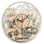 ShareArt Camping Summer Camp Silent Wood Wall Clock – Original Home Office Living Room Bedroom Kitchen Decor – Best Birthday Gift for Friends Men Woman – Unique Wall Art Design – Size 12 Inch