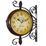 wooch Wrought Iron Antique-Look Brown Round Wall Hanging Double Sided Two Faces Retro Station Clock Round Chandelier Wall Hanging Clock with Scroll Wall Side Mount Home D?cor Wall Clock 8-inch