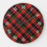 Classic Red Black Yellow White Tartan Stripes Large Clock