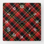 Classic Red Black Yellow White Tartan Stripes Square Wall Clock