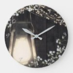 Rustic Lantern Light & Baby's Breath Floral Large Clock