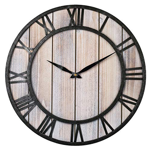 Large Farmhouse Wall Clocks, 18 Inch Vintage Roman Numerals Silent Clock, Solid Wood & Metal Frame Home Rustic Decorative Clock for Indoor, Living Room, Bedroom, Kitchen, Dining Room – Light Wooden