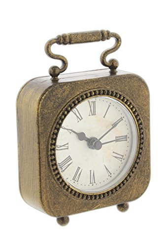 Park Hill Mini 4″ Antique Style Bronze-Tone Metal Table Clock