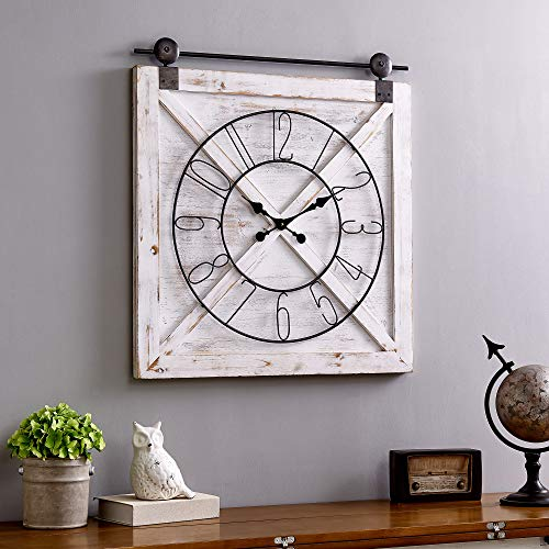 FirsTime & Co. 31080 Farmstead Barn Door Wall Clock, 29″ H x 27″ W, Whitewash, Metallic Gray, Black