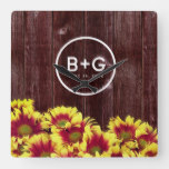 Autumn Sunflowers on Wooden Fence Wedding Square Wall Clock